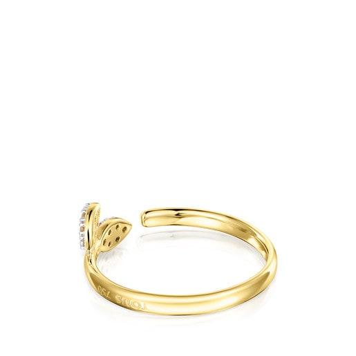 Anillo Real Mix Leaf de Oro con Diamantes
