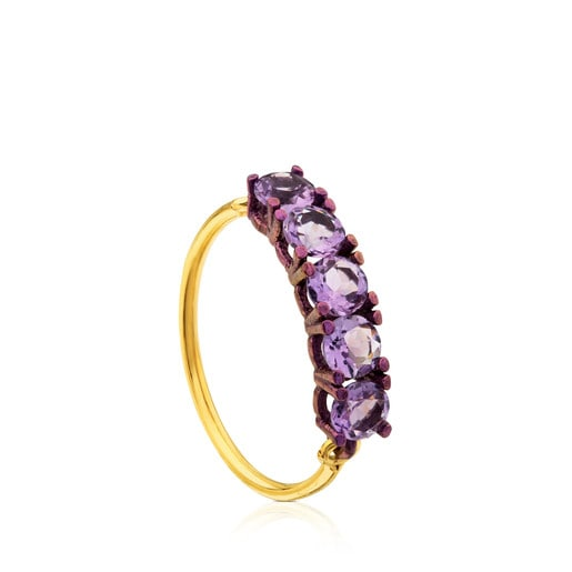ATELIER Titanium Ring with Gold and Amethysts