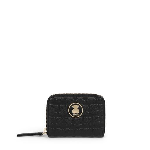 Mittelgroßes Portemonnaie Sherton aus Leder in Schwarz