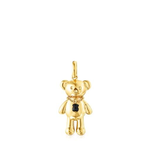 Colgante Teddy Bear collar de Plata Vermeil y Ónix