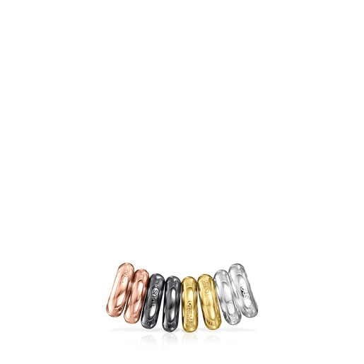Pack of Silver, Silver Vermeil, Rose Silver Vermeil and Dark Silver Hold Rings