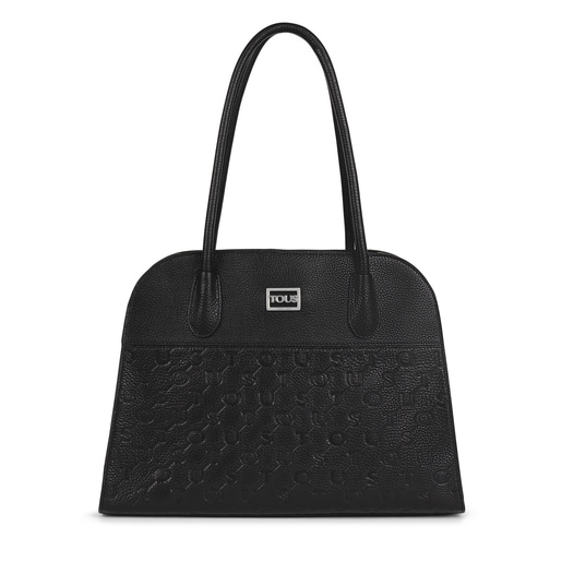 Black Leather T Script City bag