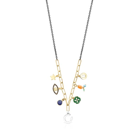 Silver Vermeil and Dark Silver TOUS Good Vibes charms Necklace with Gemstones