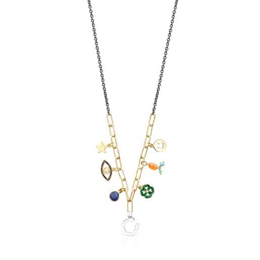 Collar TOUS Good Vibes charms de plata vermeil, plata dark silver y gemas