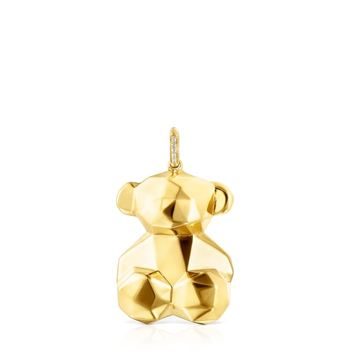 Medium Gold Sketx Pendant with Diamonds
