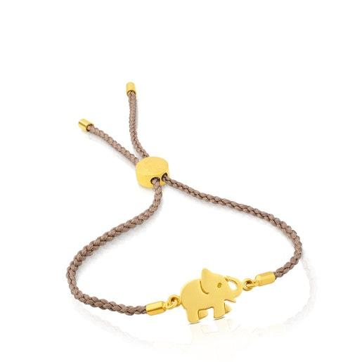 Bracelet Idol en Argent Vermeil et cordon beige