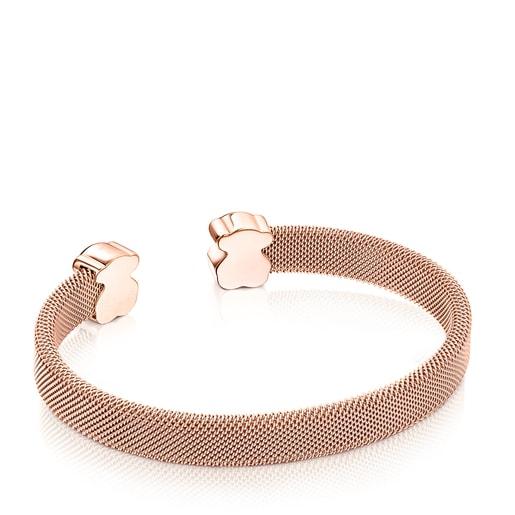 Rose IP Steel Mesh Color Bracelet with Onyx