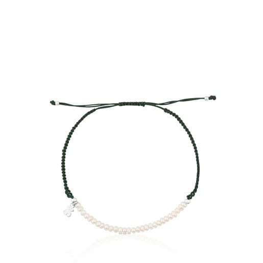 Pulsera TOUS Color de Plata, Perla y Cordón en color verde