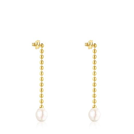 Pendientes largos Gloss de plata vermeil y perla