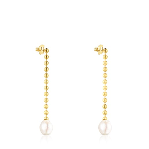 Long Silver Vermeil Gloss Earrings with Pearl