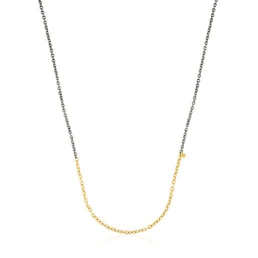 Medium 50cm Gold and Oxidized Silver Gem Power Chain.