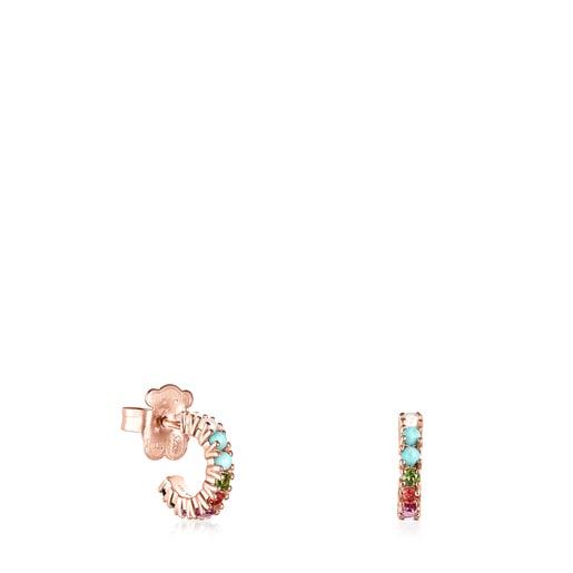 Brincos pequenos Straight em Prata Vermeil rosa e Pedras Preciosas