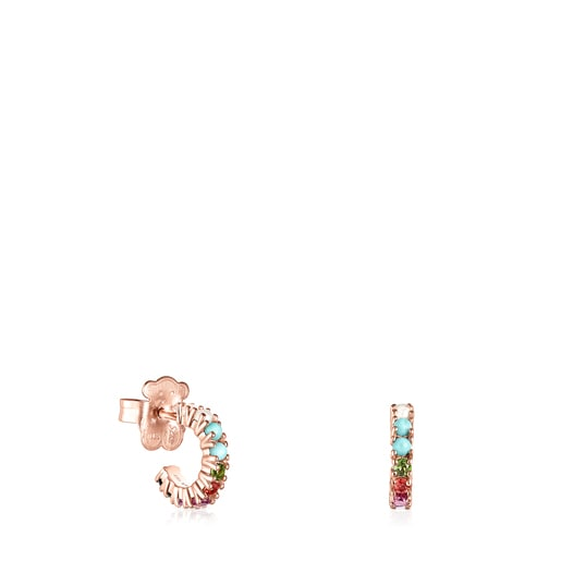 Small Straight Rose Vermeil Earrings with Gemstones