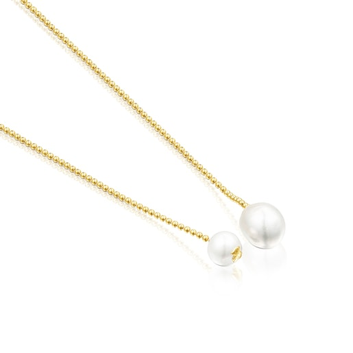 Silver Vermeil Gloss open Necklace with Pearls