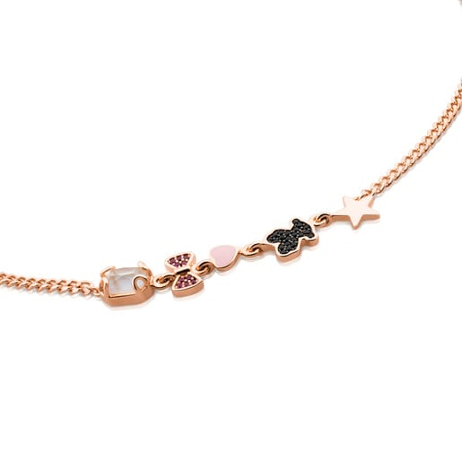 Rose Vermeil Silver Join Necklace with Gemstones