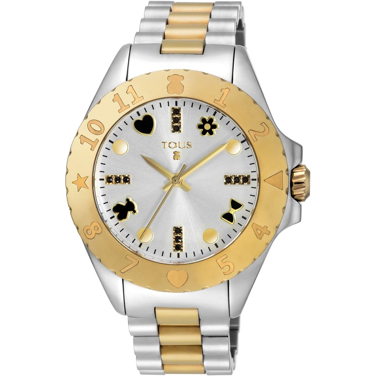 Relógio New Motif bicolor em Aço/IP dourado