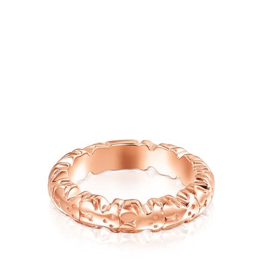 Anillo Straight XL de plata vermeil rosa