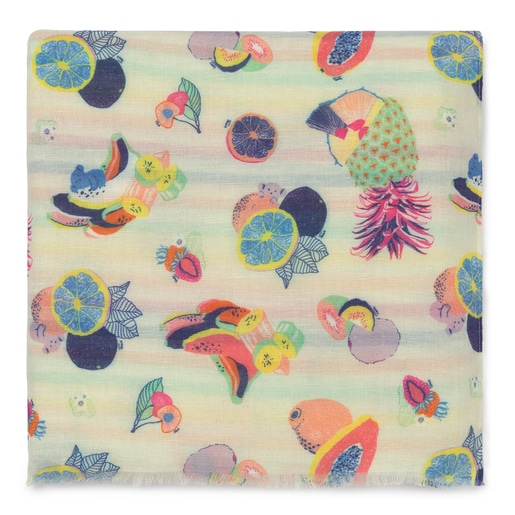 Multi-colored Pompom Bear Jacquard Foulard