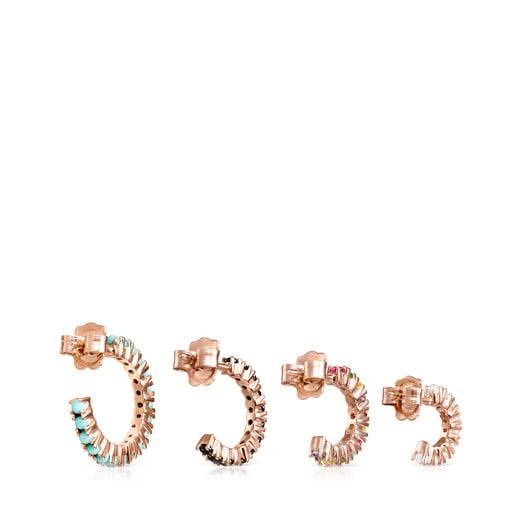 Pack de Aros Straight de Plata Vermeil rosa con Gemas