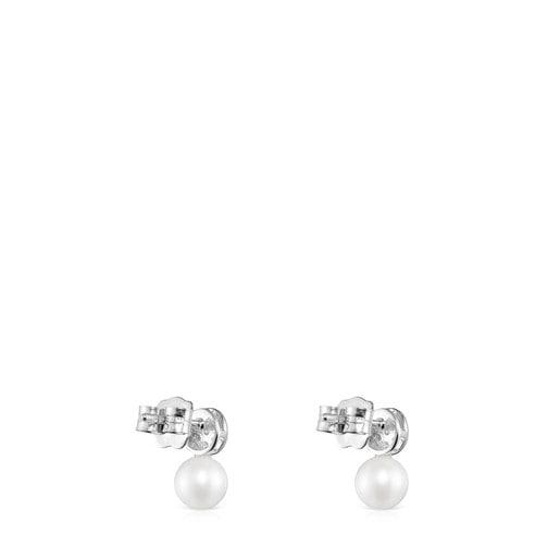 Aros Alecia de Oro blanco con Diamantes y Perla