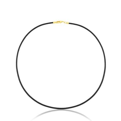 Cadena TOUS Chokers de cuero en color negro de 2mm con cierre de oro, 45cm.