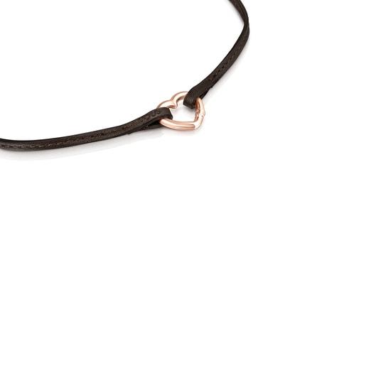 Herz-Halskette Hold aus Vermeil-Roségold und braunem Leder