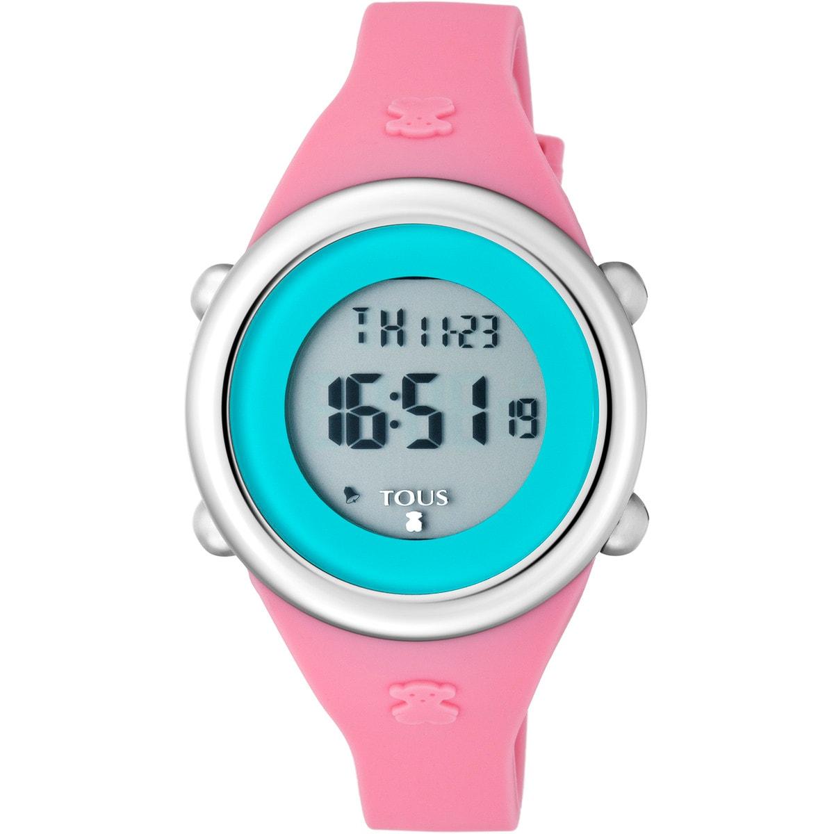 Steel Soft Digital Watch with fuchsia Silicone strap
