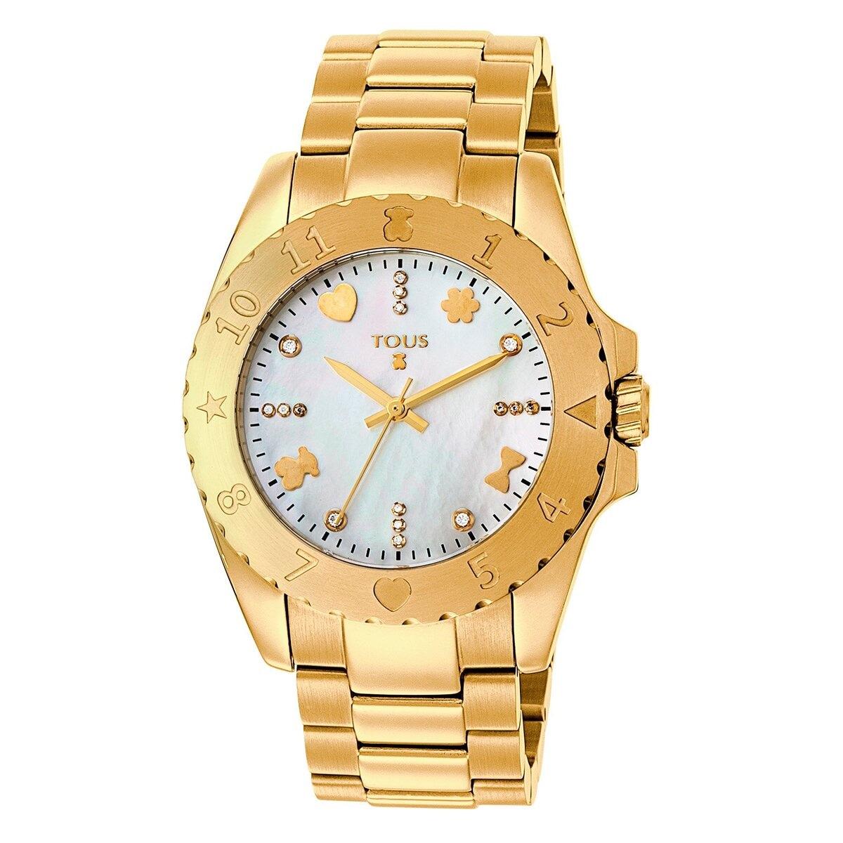 Reloj Motif de acero IP dorado con diamantes