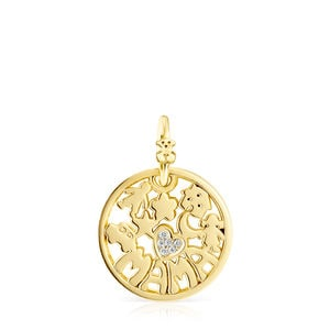 Small Gold TOUS Mama Pendant with Diamonds