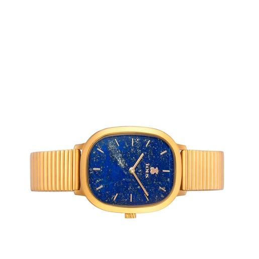 Reloj Heritage Gems de acero IP dorado con esfera de Lapislázuli