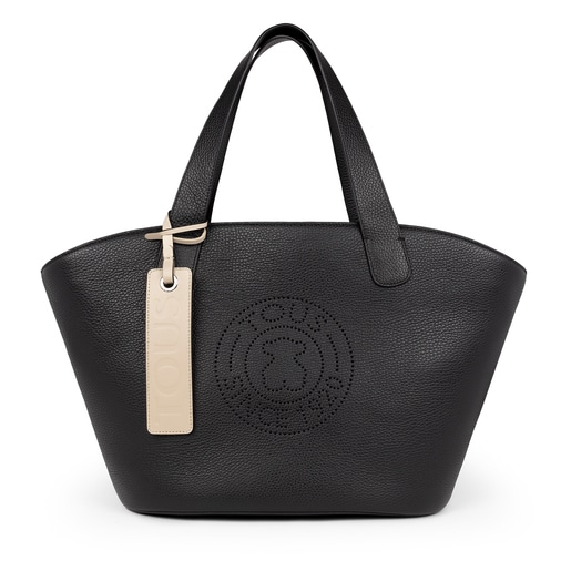 Large black Leather Leissa Shopping bag