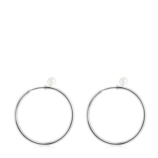 Boucles d'oreilles TOUS Basics moyennes en Argent avec Perle