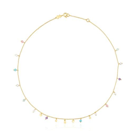 Halskette Cool Joy aus Vermeil-Silber mit Edelsteinen
