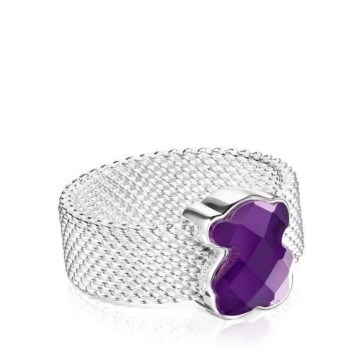 Silver TOUS Mesh Color Ring with faceted Amethyst Bear motif