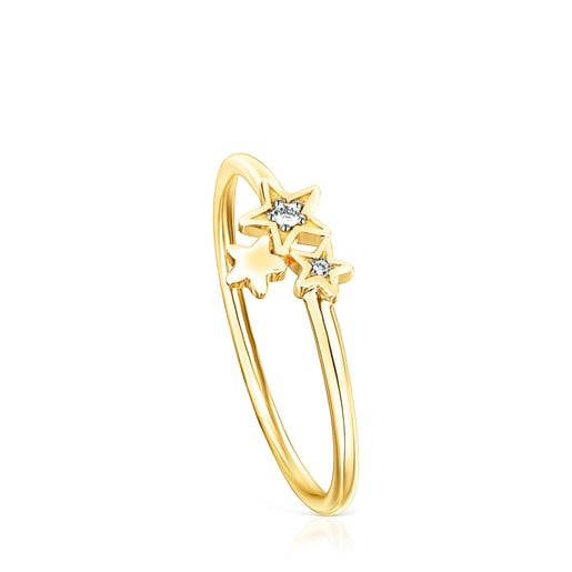 Ring Teddy Bear Stars aus Gold mit Diamanten