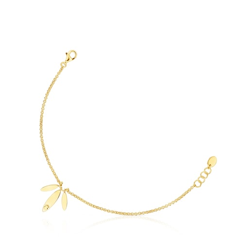 Pulsera Fragile Nature laurel de plata vermeil