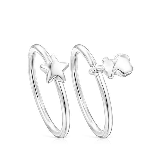 Silver Mini Icons bear-star Rings set