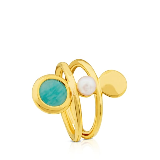Vermeil Silver Alecia Ring with Amazonite and Pearl
