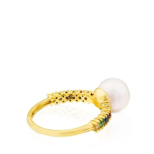 Anillo Lio de Oro con Gemas y Perla