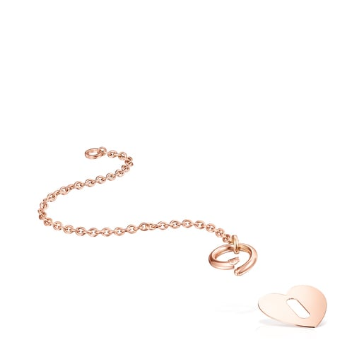 Pulsera Hold Metal corazón de Plata Vermeil rosa