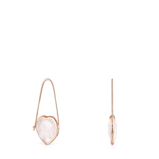 Pendientes Sweet Dolls Color de Plata Vermeil rosa y Cuarzo rosa