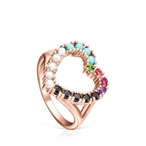 Anillo San Valentín corazón de Plata Vermeil rosa y Gemas multicolor forma Corazón