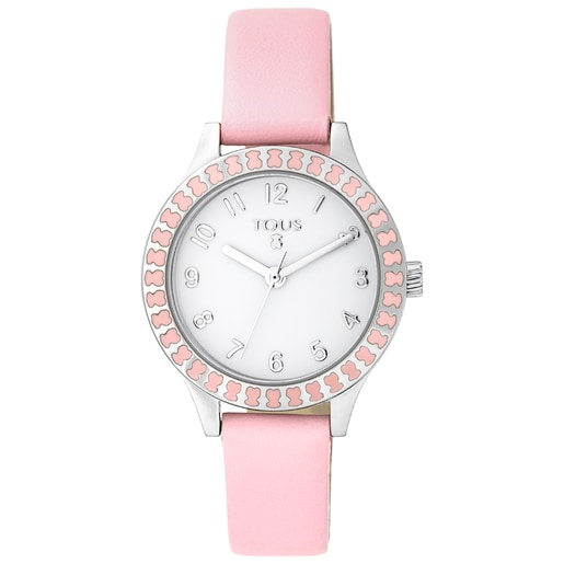 Steel Straight Kids Watch with bear bezel and pink Leather strap