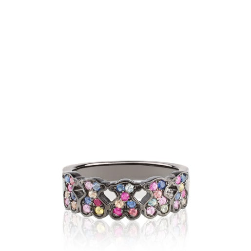 Silver TOUS Fantasy Ring with multicolor Sapphire