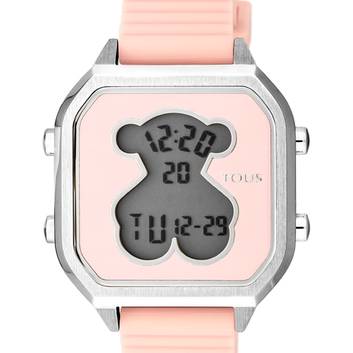 Montre D-Bear Teen en acier avec bracelet en silicone rose