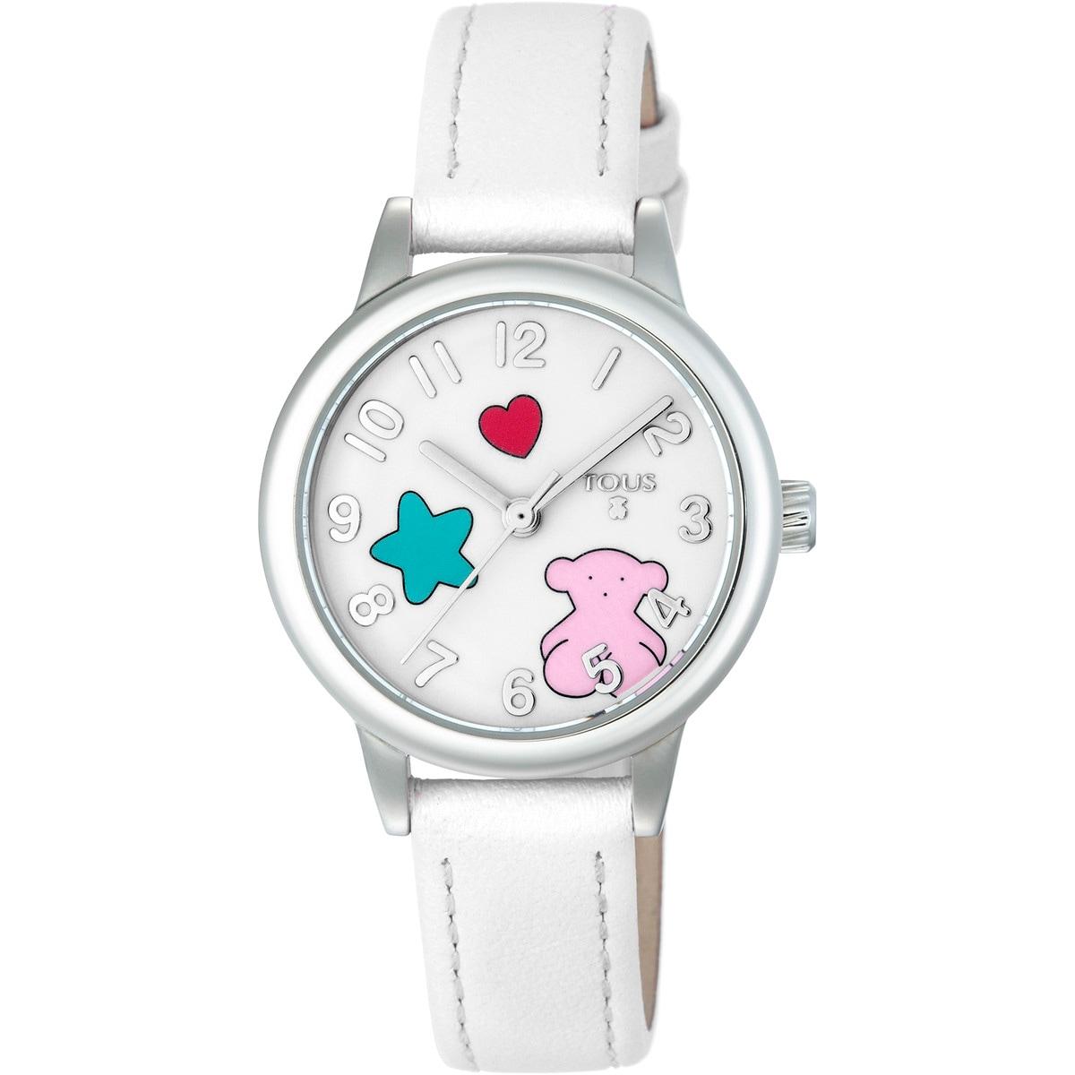 Relógio Muffin em Aço com correia de Pele branca