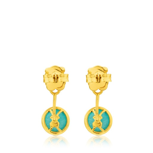 Vermeil Silver Alecia Earrings with Amazonite and Rose Opal
