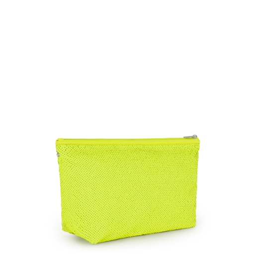 Medium Neon Yellow Kaos Shock Sequins Handbag