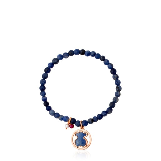 Rose Vermeil Silver Camille Bracelet with Quartz with Dumortierite, Ruby and Pearl
