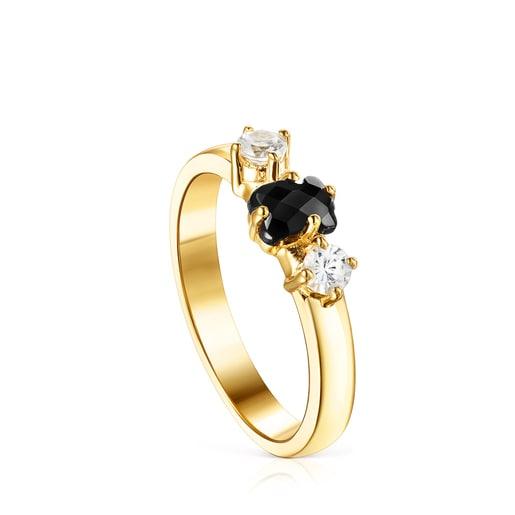 Ring Glaring aus Vermeil-Silber mit Onyx und Zirkonia